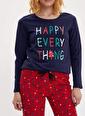 DeFacto Baskılı Pijama Takımı Kırmızı